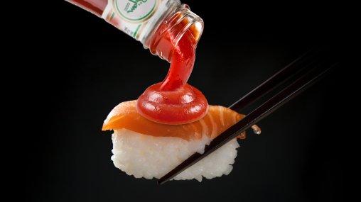 Iranianized sushi - tomato ketchup on sushi