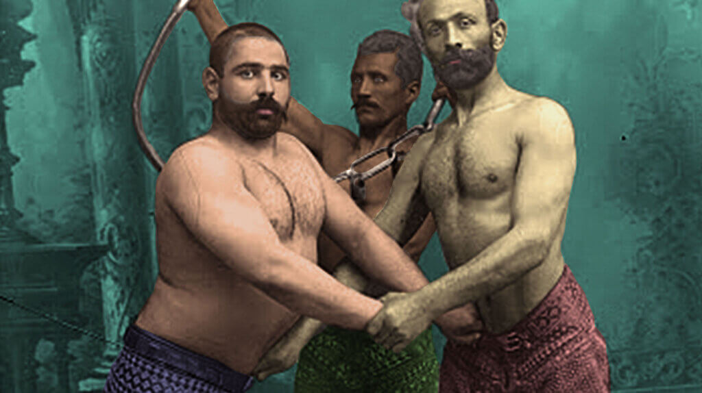 Ask An Iranian -  Studio Portrait of Three Persian Wrestlers by Antoin Sevruguin, c.1890 - digitally remastered by Ask An Iranian