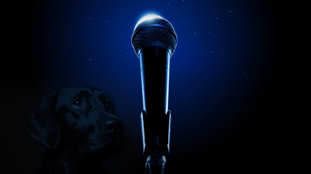 Ask An Iranian - How do I survive Ramadan - microphone with a silhouette crescent like the moon
