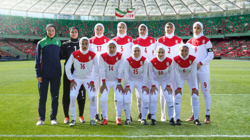 Iranian women's under 19 national football team - with coach Katayoun Khosrowyar