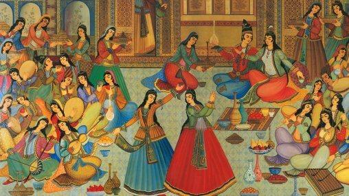 A banquet of song and dance. Artist is Ibrahim Jabbar-Beik (1923-2002) - Iranian Yalda night celebration - Ask An Iranian