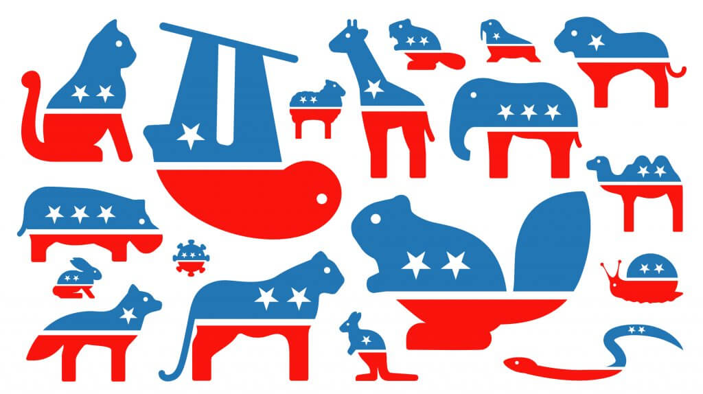 What animal will lead the US? - Ask An Iranian - various American political party mascot animals as icons