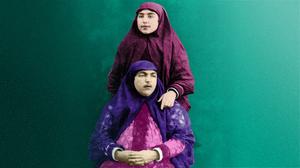 """Two women (bottom: """"the incomparable Anis al-Doleh"""") from Naser al-Din Shah Qajar's Harem, Tehran, Iran. Date unknown. Edited by Ask An Iranian 2021."""