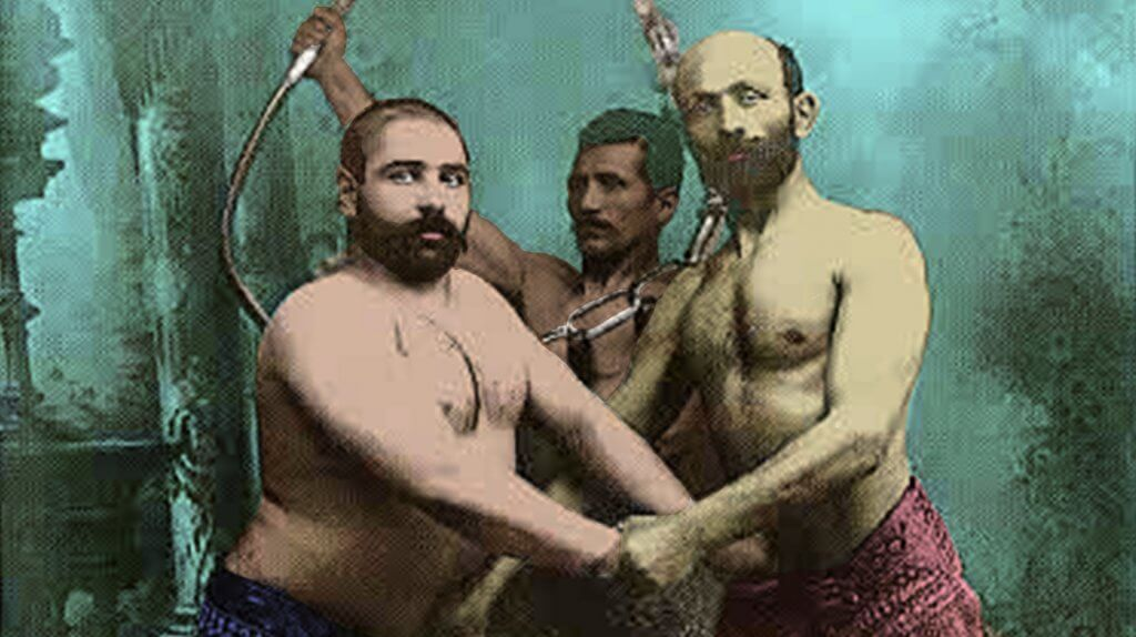 Ask An Iranian - Do Iranians have daddy issues? - Zoor Khooneh - digitally de-mastered - Studio Portrait of Three Persian Wrestlers by Antoin Sevruguin, c.1890