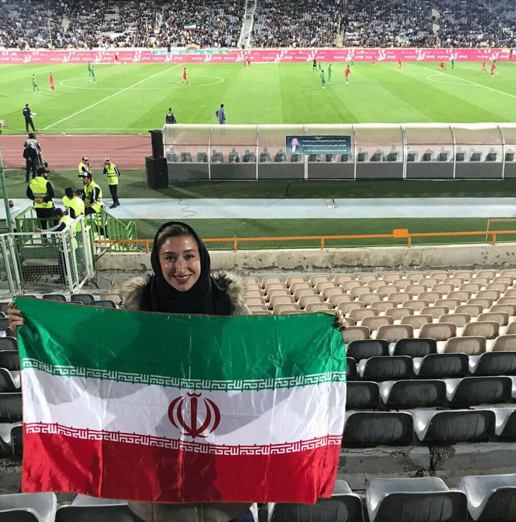 Iran's former U19 women's football coach, Katayoun Khosrowyar in Tehran's Azadi Stadium, watching Iran vs Bolivia