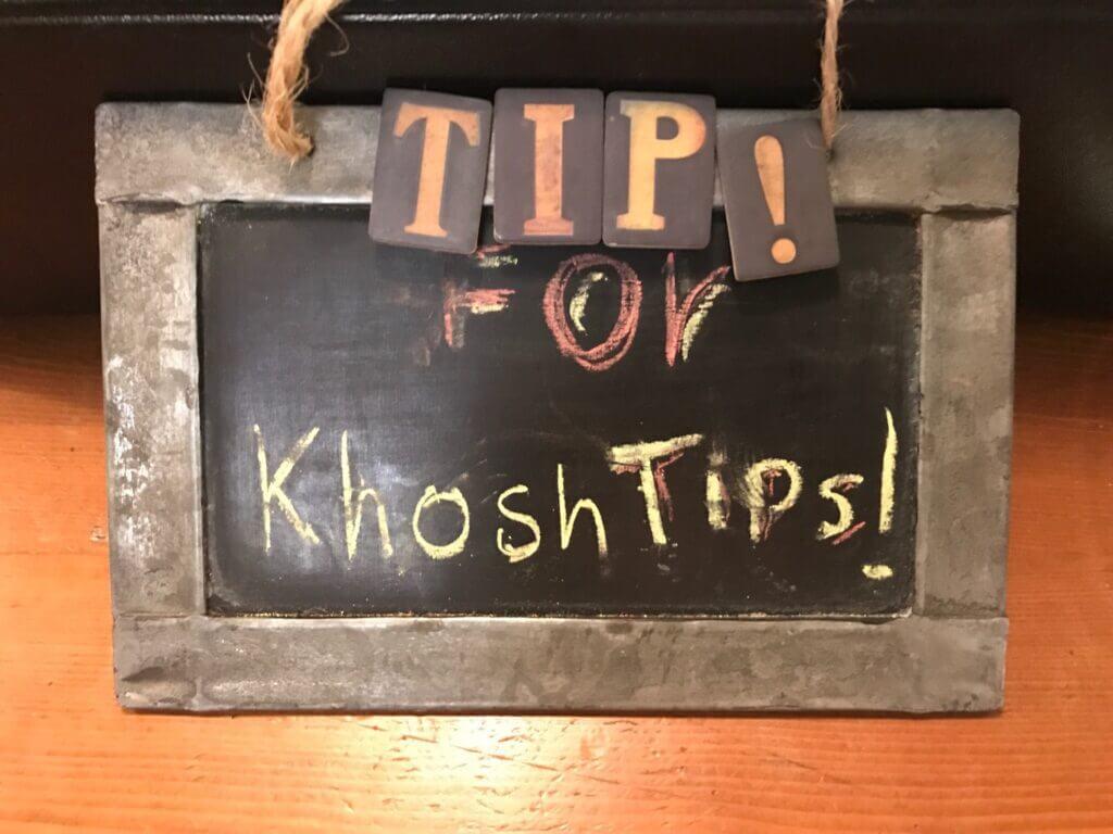 """""""Tips for khoshtips"""" sign found in Vadi Café, Tehran"""